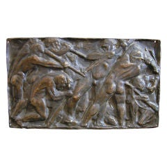 """Prying Coal,"" Art Deco Bronze Sculptural Panel with Nude Male Miners, 1925"