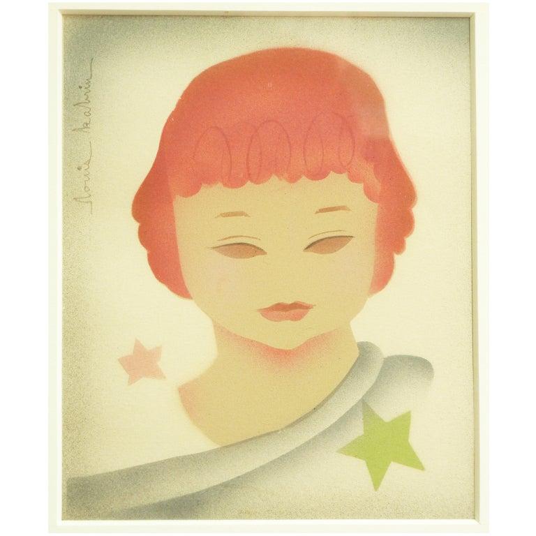 """""""Star Child,"""" Rare Art Deco Pochoir by Louis Kabrin"""