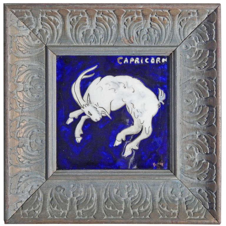 Quot Capricorn Quot Important Art Deco Tile With Zodiac Theme By