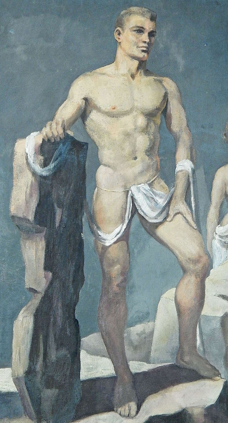 A contemporary of Paul Cadmus, and like him, highly focused on depicting the male figure in various settings and positions, John Lear never gained fame beyond his circle of admirers in the Philadelphia area.  Unlike Cadmus, Lear depicted nude or