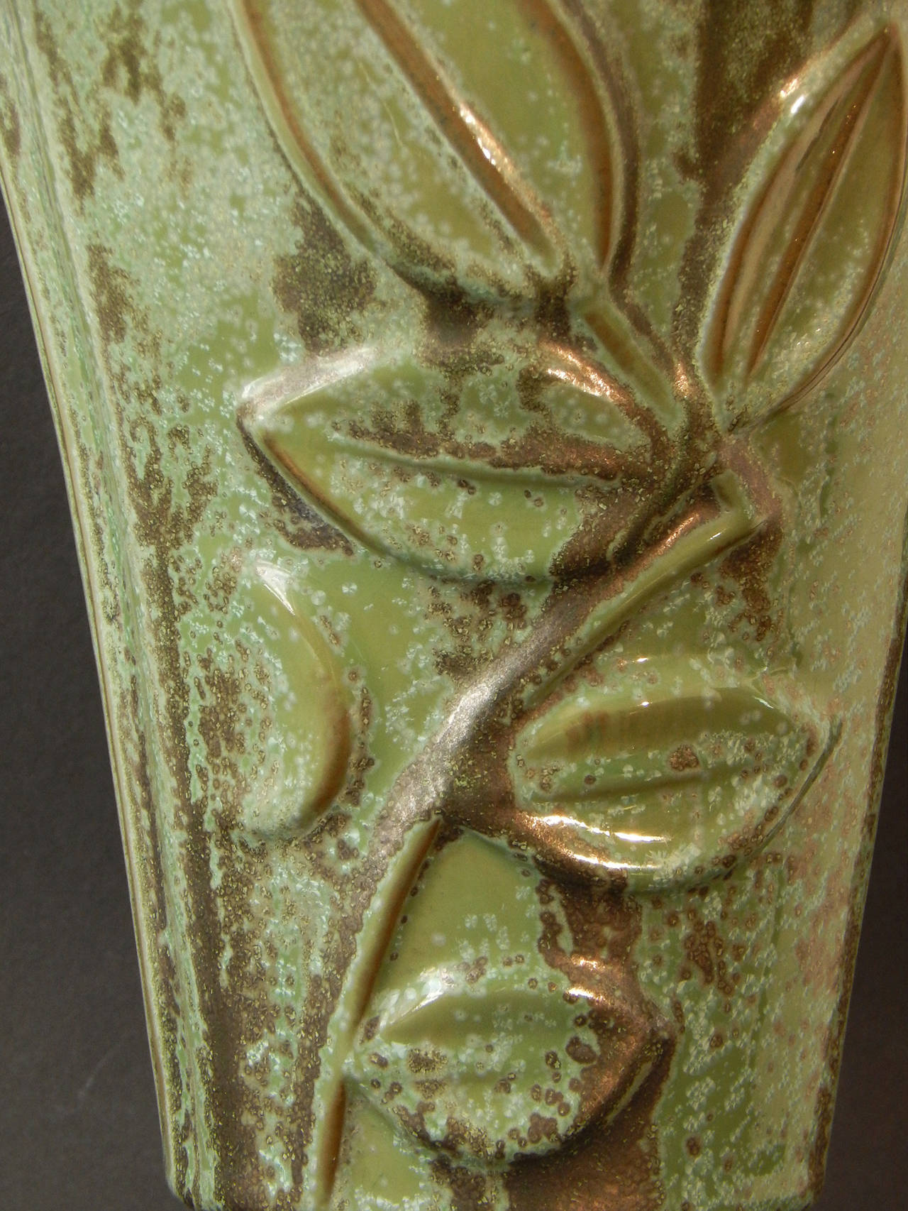 American Rare, Large Art Deco Vase with Foliate Motif by Stangl for Fulper For Sale