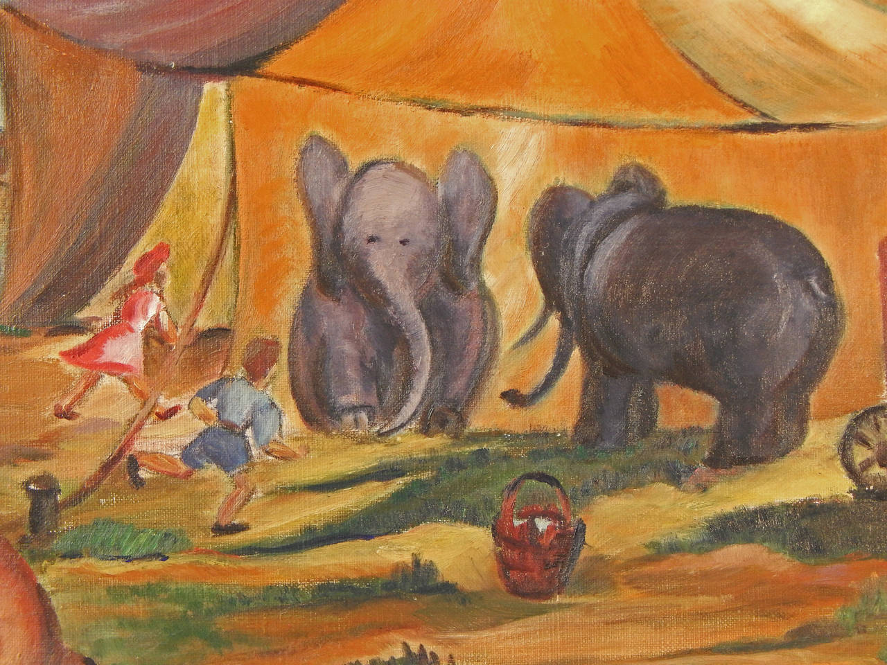 Bringing exuberance and vivid color to its depiction of small town life, this painting depicts the circus big top on the edge of town, with a wagon to one side, a pair of elephants waiting for their moment and two children rushing toward the action.