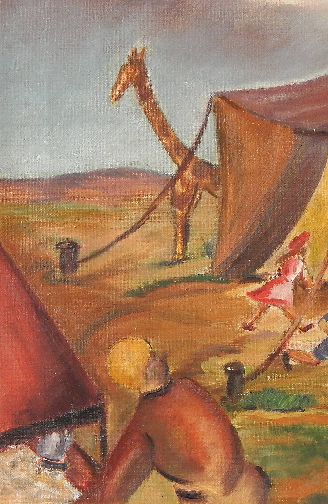 """Art Deco """"Circus Is in Town,"""" Superb Social Realist Painting by Anne Walker, 1930s For Sale"""