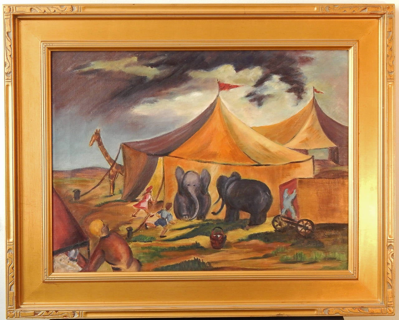 """American """"Circus Is in Town,"""" Superb Social Realist Painting by Anne Walker, 1930s For Sale"""