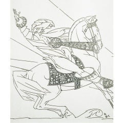 """Christmas Cavalier,"" 1925 Drawing by Walter Dorwin Teague"