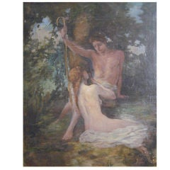 """Shepherd and Nymph,"" oil painting by Lee Woodward Zeigler"