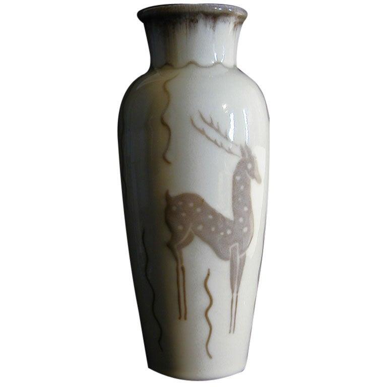 Elegant, Art Deco Vase with Deer Motif, 1940s