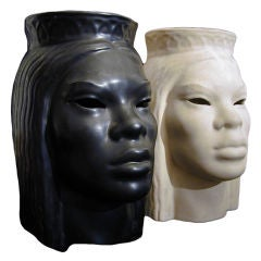 Important, Rare Pair Art Deco Polynesian-Themed Sculptures or Lamps by Powell