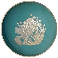 """Nude on Horseback Battling Lion,"" Footed Art Deco Bowl by Stjärnmetall"