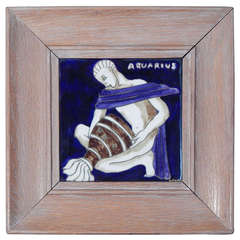 """Aquarius,"" Important Art Deco Tile with Nude Male and Limed Oak Frame"