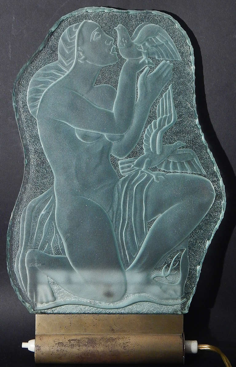 "Brass ""Nude and Doves,"" Important, Large Art Deco Sconce/Glass Sculpture by Torhamn For Sale"