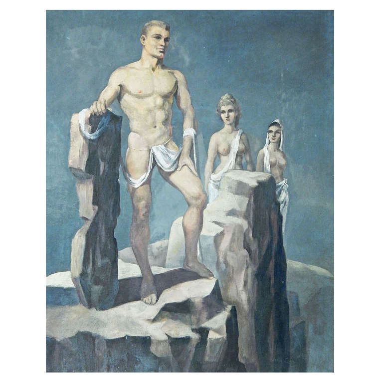 """""""Trio,"""" Rare and Early Oil Painting of Three Nudes in Surreal Landscape by Lear For Sale"""