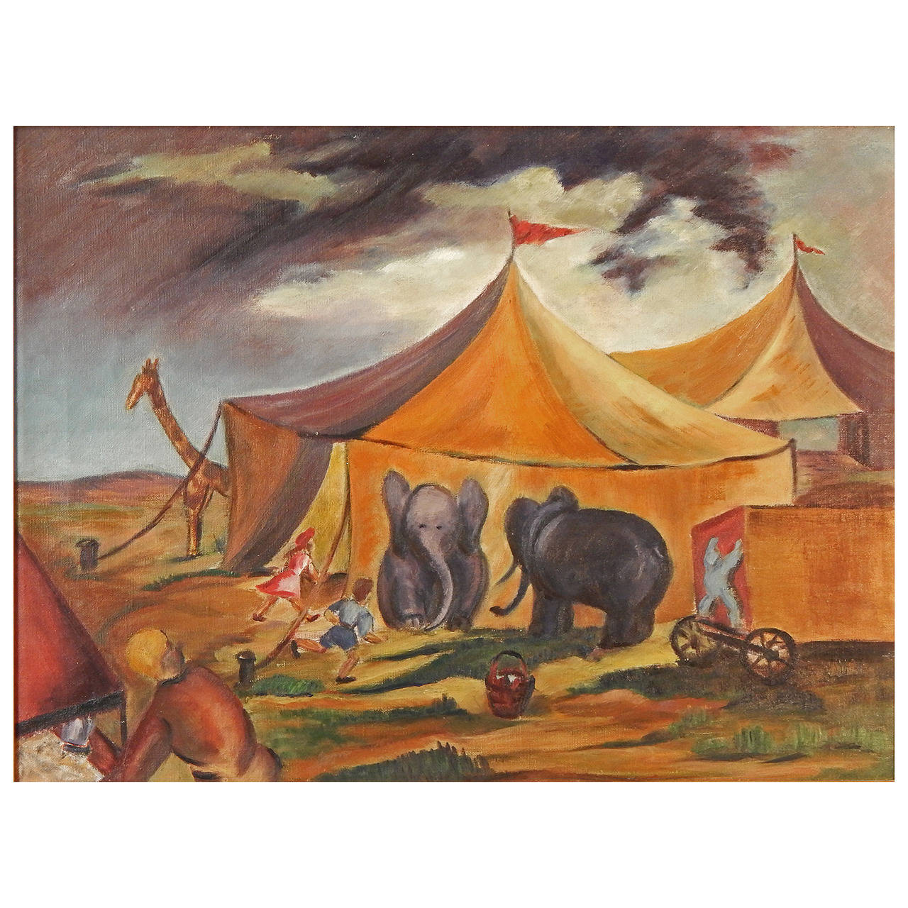 """Circus Is in Town,"" Superb Social Realist Painting by Anne Walker, 1930s For Sale"