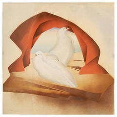 """Three Doves,"" Art Deco Painting with Surrealistic Edge by Hentschel"