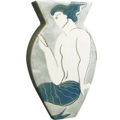 Belgian Art Deco Vase with Mermaid Motif
