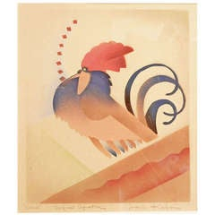 """Cock,"" Fine and Rare Aquatone Art Deco Print by Kabrin"