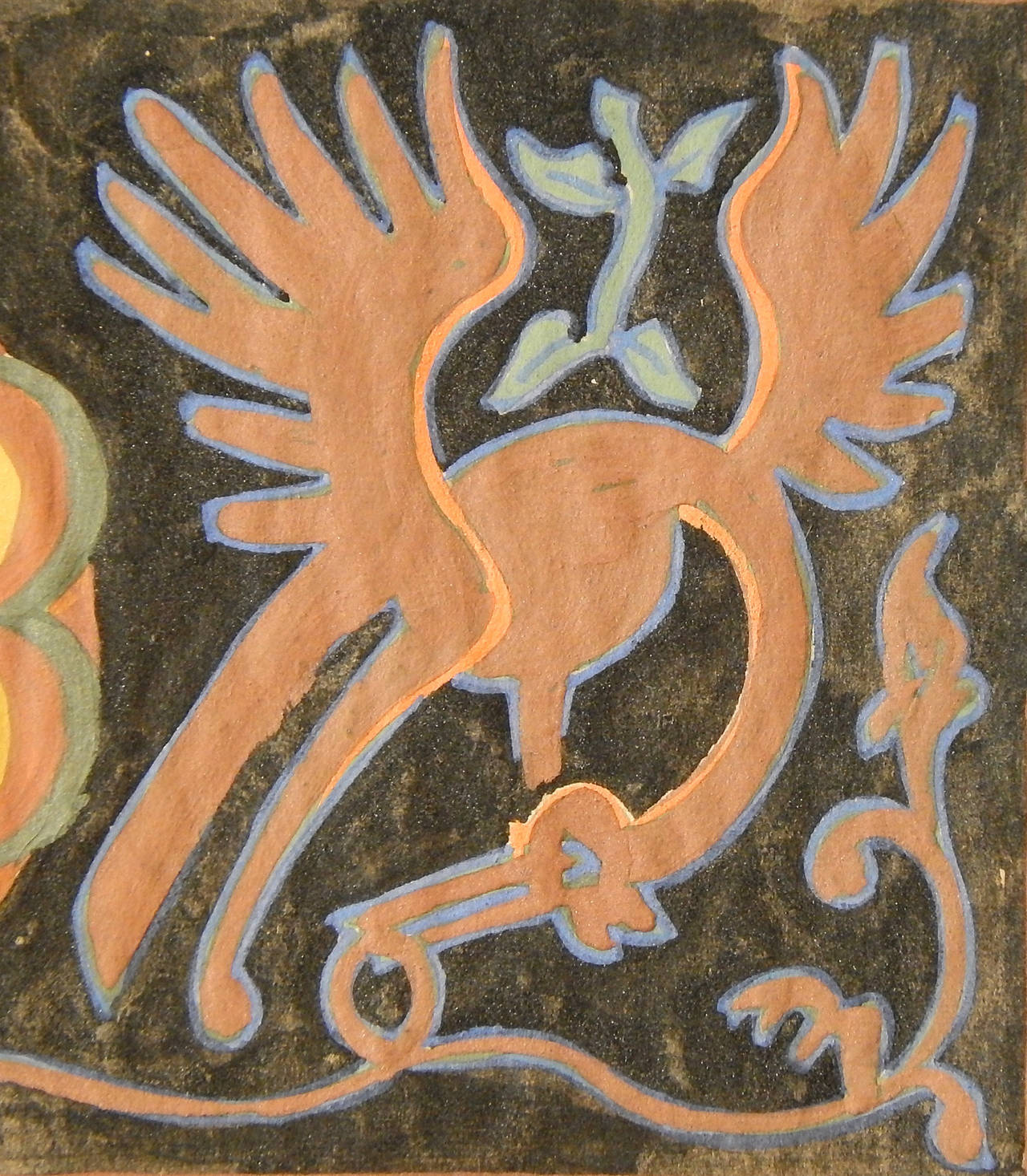 American Exotic Bird Frieze, Art Deco Decorative Painting by Dunbar Beck For Sale
