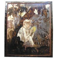 """""""Capuchin Monkey,"""" Masterpiece of Art Deco Eglomise Painting"""