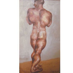 """Male Nude from Rear,"" 1930s Oil Painting by Muriel Walcoff"