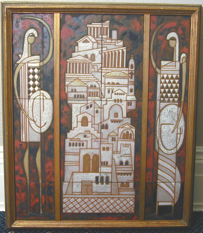 Midcentury Triptych Tile Panel by Panos Valsamakis 2