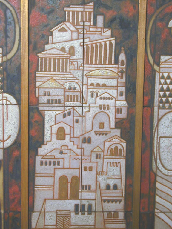 Midcentury Triptych Tile Panel by Panos Valsamakis 3
