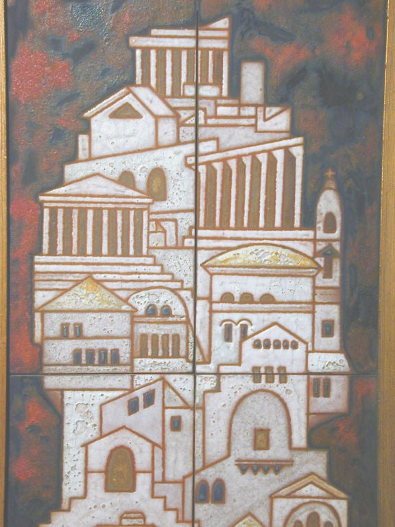 Midcentury Triptych Tile Panel by Panos Valsamakis 4