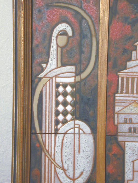 Midcentury Triptych Tile Panel by Panos Valsamakis 5