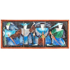 """The Blue Knights,"" Brilliant, Mid-Century Enamel Panel by Hansen"