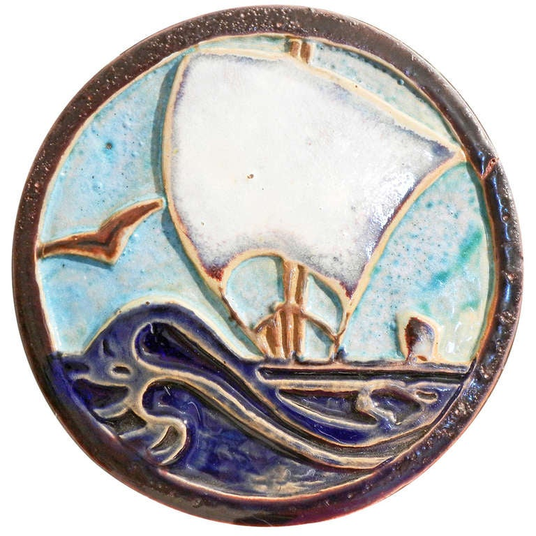 Art Deco Tile Paperweight With Sailing Ship Motif 1936 For