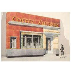 """Coffee Shoppe,"" Original Art Deco Architectural Rendering, Watercolor"