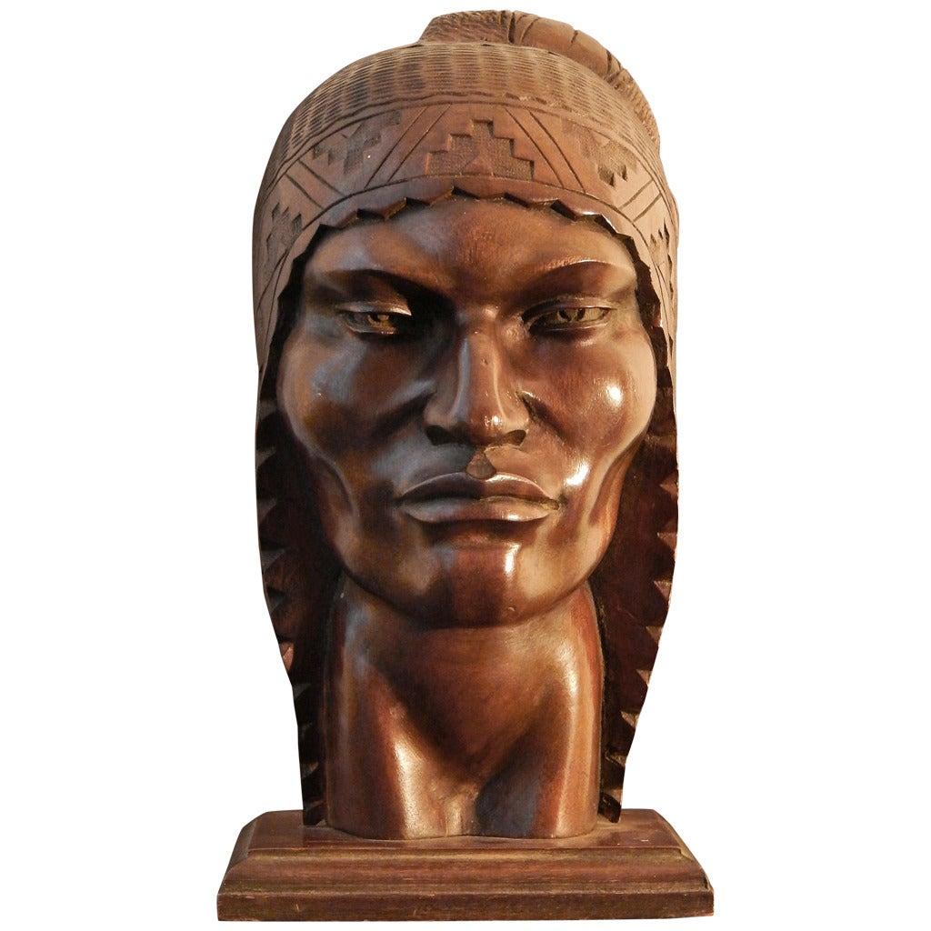 """Peruvian Male in Traditional Headdress,"" Art Deco Sculpture For Sale"
