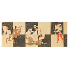 """""""American Indians and Spanish Explorers,"""" Design for Art Deco Decoration"""
