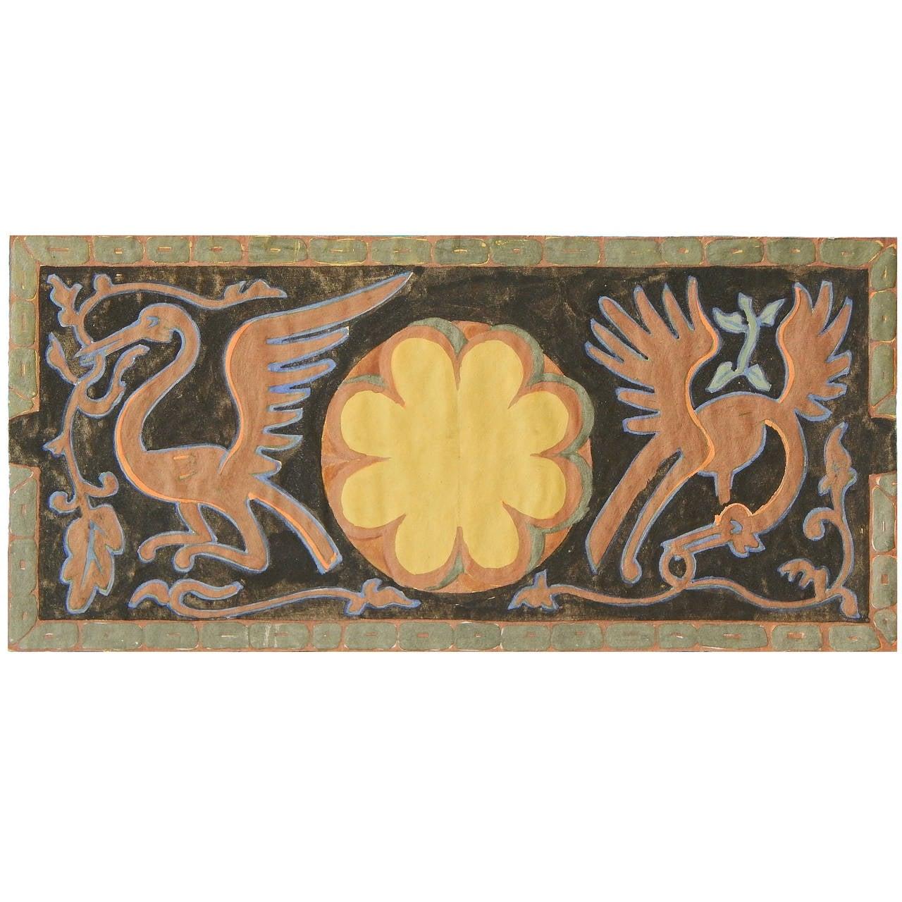 Exotic Bird Frieze, Art Deco Decorative Painting by Dunbar Beck For Sale