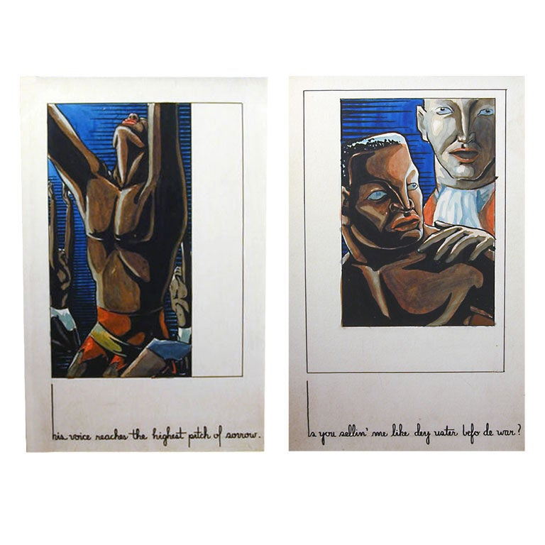 Pair of art deco illustrations slave story by fred for Art deco illustration