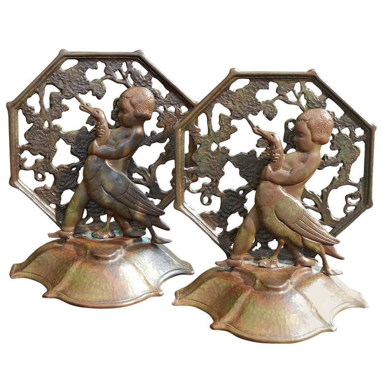 """Girl and Goose,"" Rare Pair of Art Deco Bronze Bookends by Bach For Sale"