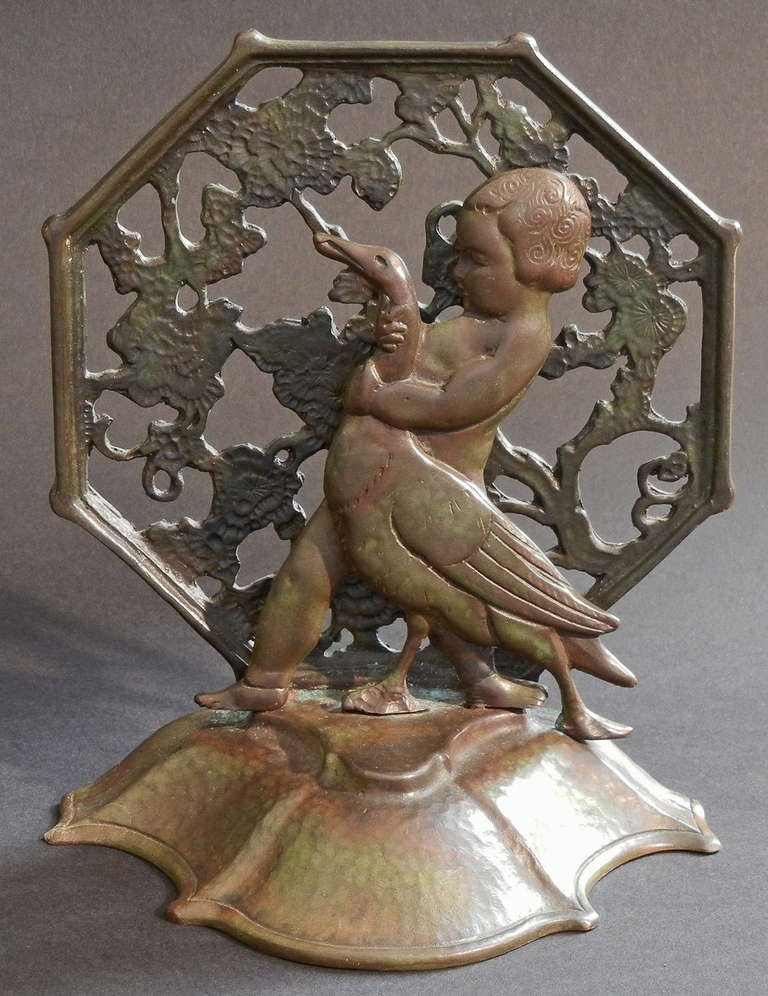 "American ""Girl and Goose,"" Rare Pair of Art Deco Bronze Bookends by Bach For Sale"
