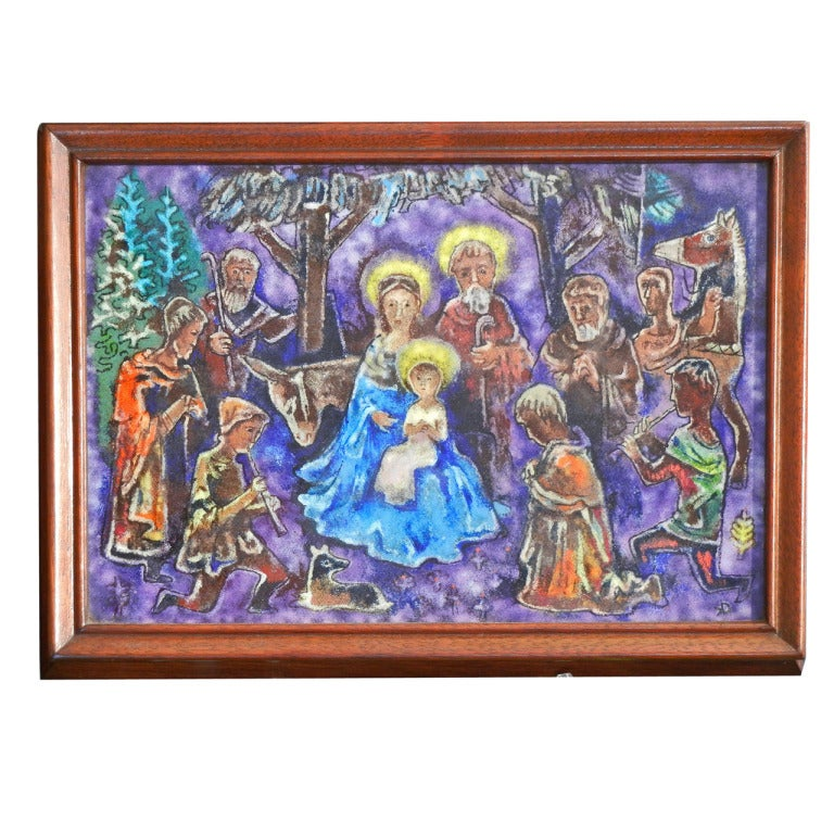 "Brilliant, Rare ""Nativity"" Enamel Panel by Karl Drerup"