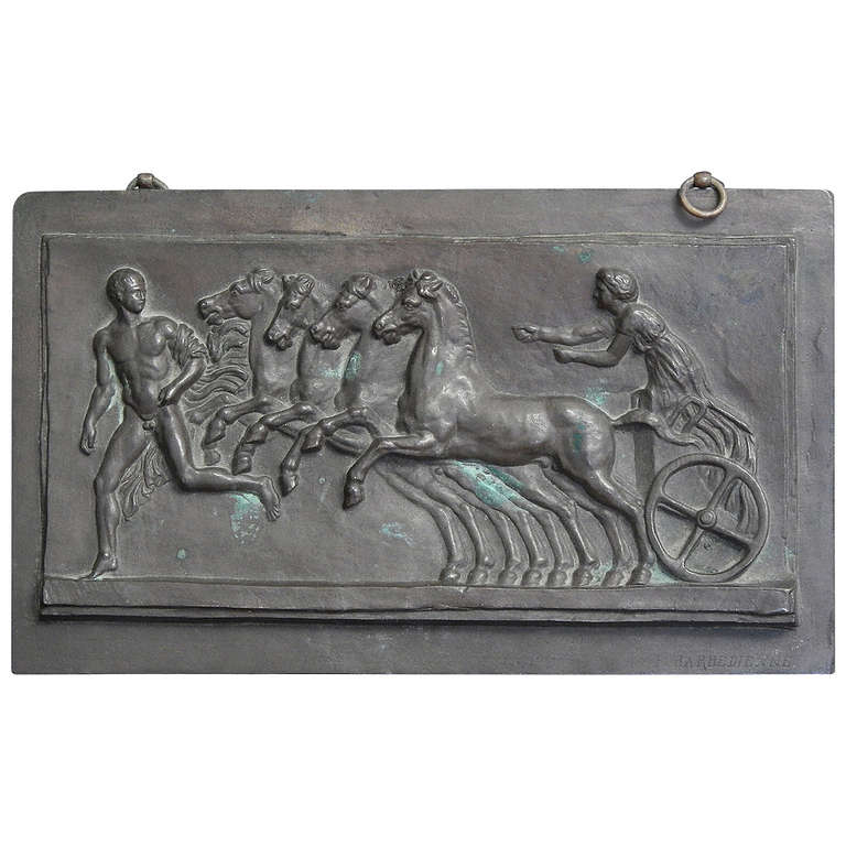 """Nude and Horsedrawn Chariot,"" Rare Bronze Plaque by Barbedienne"