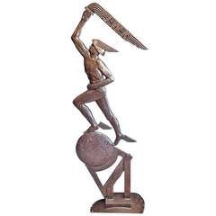 """Mercury Holding Torch Aloft,"" Unique 64"" Art Deco Bronze with Company Logo"