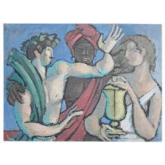 """Three Figures,"" Art Deco Oil Painting by Raoul Pene du Bois"
