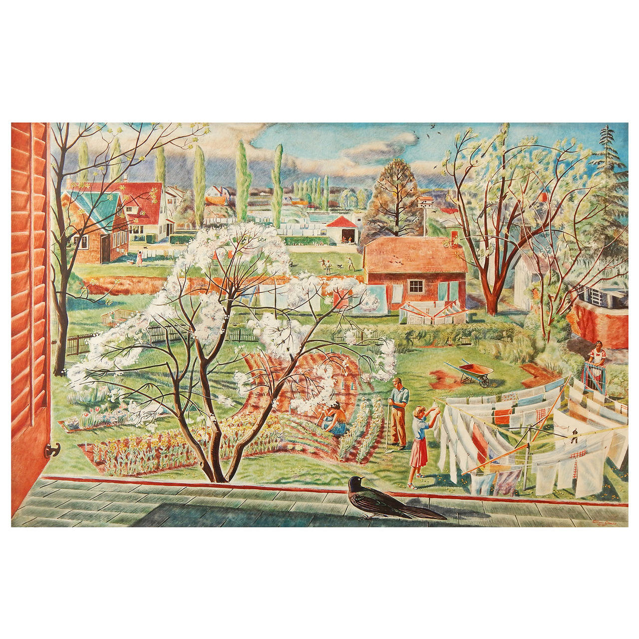 """""""Fresh New World,"""" 1944 Masterpiece Depicting Early Suburban Life in America"""