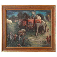 """""""Circus Setting Up at Night,"""" Atmospheric Social Realism Painting, 1930s"""