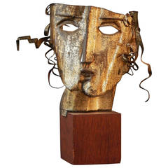 """Cubist Head"" Metal Sculpture by Kinzinger, 1927"