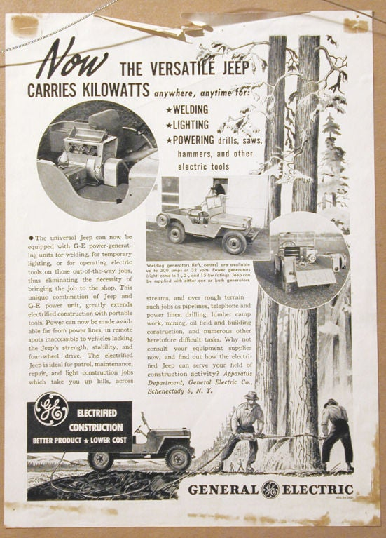 This original drawing was created for an advertisement by General Electric for its portable power generators, here shown powering a saw wielded by two lumberjacks.  Attributed to Rockwell Kent, who did many illustrations for GE and other companies