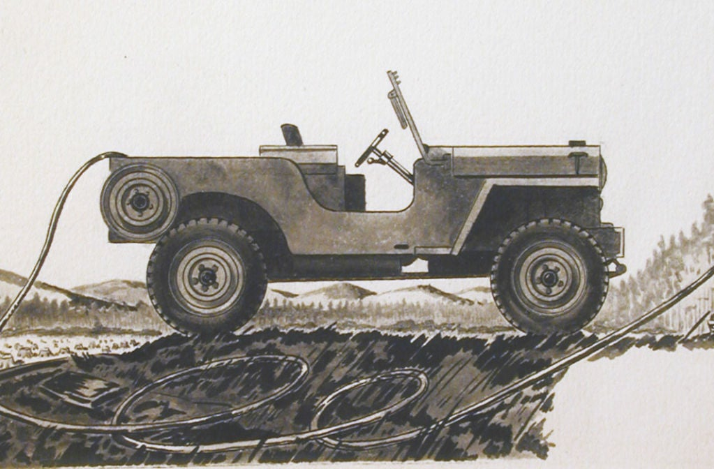 Original Drawing for General Electric/Jeep, possibly by R. Kent In Excellent Condition For Sale In Philadelphia, PA