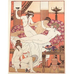 """Lovers,"" Art Deco Pochoir by Kuhn-Regnier, France"