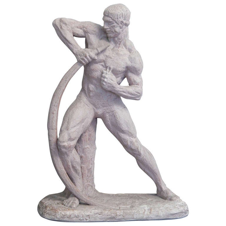 """Bending the Bow,"" Fine Art Deco Sculpture by Henri Bargas"