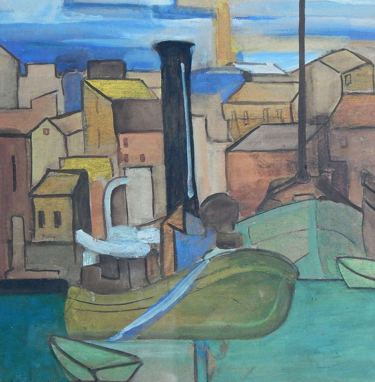 Increasingly known and respected for a vivid, sure version of Cubism and a love of landscapes and cityscapes, Andre Lhote here captures the vivid colors of a port city in France, with its vivid blue sky, its water in shades of green and blue, and