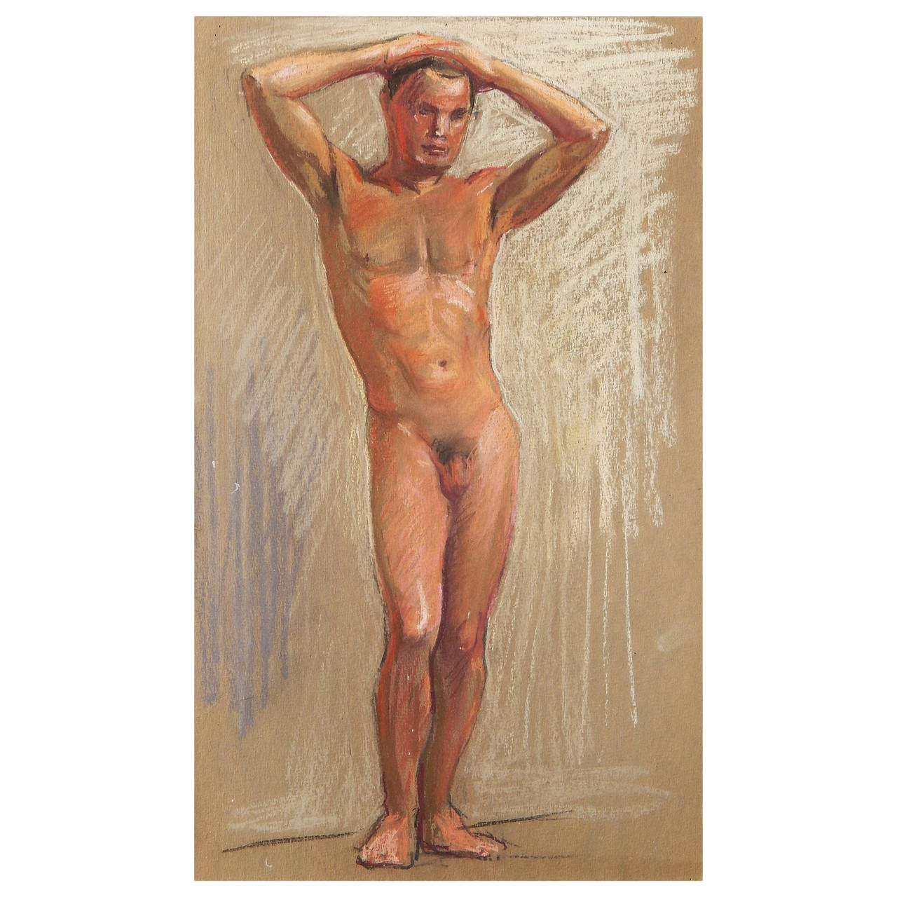 """""""Standing Male Nude,"""" Pastel Drawing by Allyn Cox, US Capitol Muralist"""
