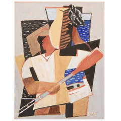 """Portside - Man with Oar and Jug"" Cubist Painting by Kinzinger, 1934"